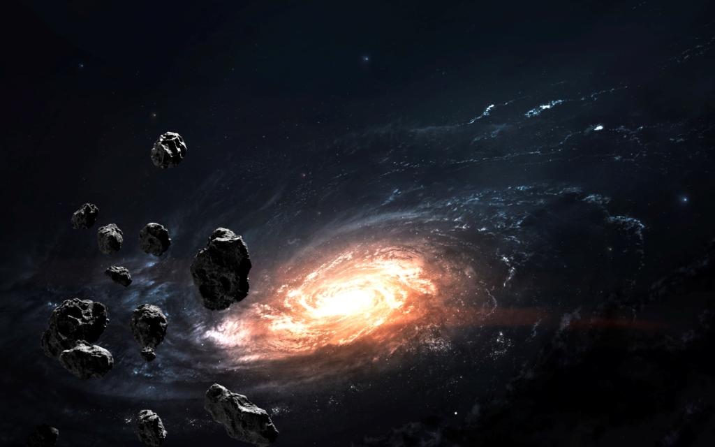 Aszteroidák az éjszakai égen, kozmikus tájkép, örvénylő fényes spirállal.