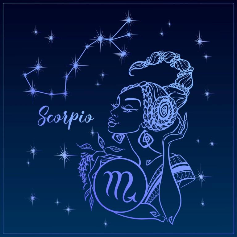 A Skorpió csillagjegy, mint egy szép lány. A Skorpió jele, éjszakai kék égen, horoszkóp, asztrológia