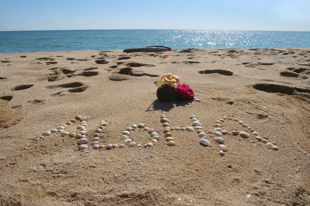 KAgylókból kirakott szó a terngerpart homokjában: aloha
