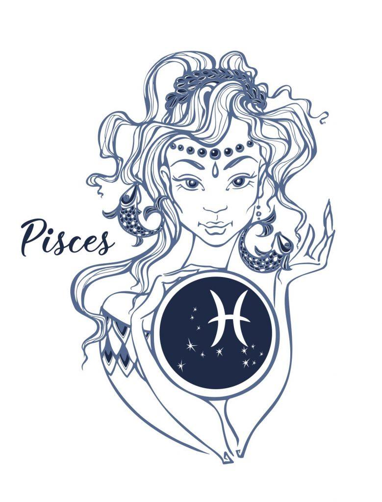 Kalligrafikus vonásokkal megrajzolt Halak szombólum. Szép női arc