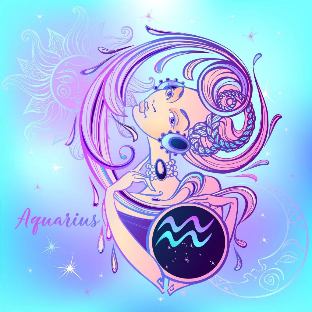 A vízöntő jegyet ábrázoló grafika, színes női fej